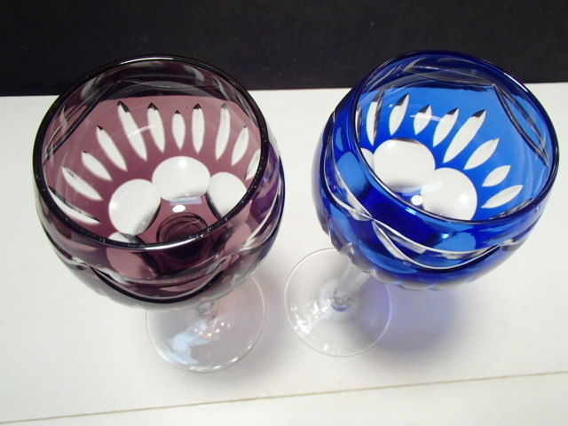 """2 CUT TO CLEAR TALL 8 1/4"""" WINE GLASSES / STEMS~~BEAUTIES~~unknown maker"""