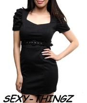 Juniors NEW SEXY Busty BLACK FITTED Belted DRES... - $9.89