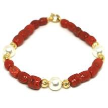 Bracelet or Jaune 18K 750, Corail Rouge, Perles Blanches, Boules Cerneaux - $350.81