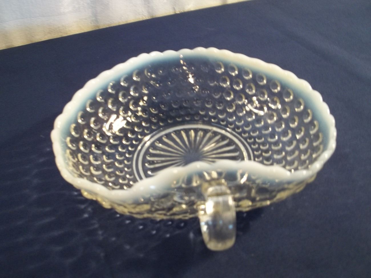 MOONSTONE HEART BONBON DISH WITH ONE HANDLE PRODUCED BY ANCHOR HOCKING 1940'S