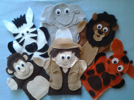Safari felt Puppets Elephant, Zebra, Monkey, Lion, Giraffe and Boy - $34.99