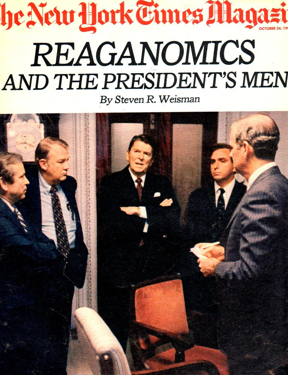 Primary image for New York Times Magazine October 24,1982 Reaganomics & The Presidents's Men