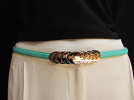 "Women High Waist Hip Blue Thin Fashion Belt Gold Circles Buckle 29"" 37"" S M L - $14.69"