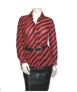 Red Black Stripe Blouse, Long Sleeve Diagonal Stripe Chiffon  - $32.99