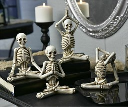 "Set of 4 Halloween Skeleton Design Figurines in Yoga Poses Polyresin 6.5"" High"