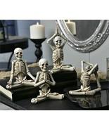 Set of 4 Halloween Skeleton Design Figurines in Yoga Poses Polyresin 6.5... - $74.24
