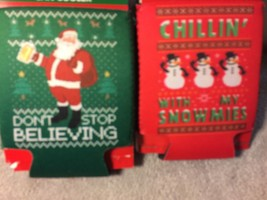 (4) HOLIDAY CAN HOLDERS--SNOWMAN / SANTA--2 DESIGNS--CHRISTMAS--FREE SHI... - $13.86
