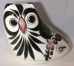 Tonala Mexican Hand Painted Glazed Pottery Owl Bright Floral Blue  - $8.00