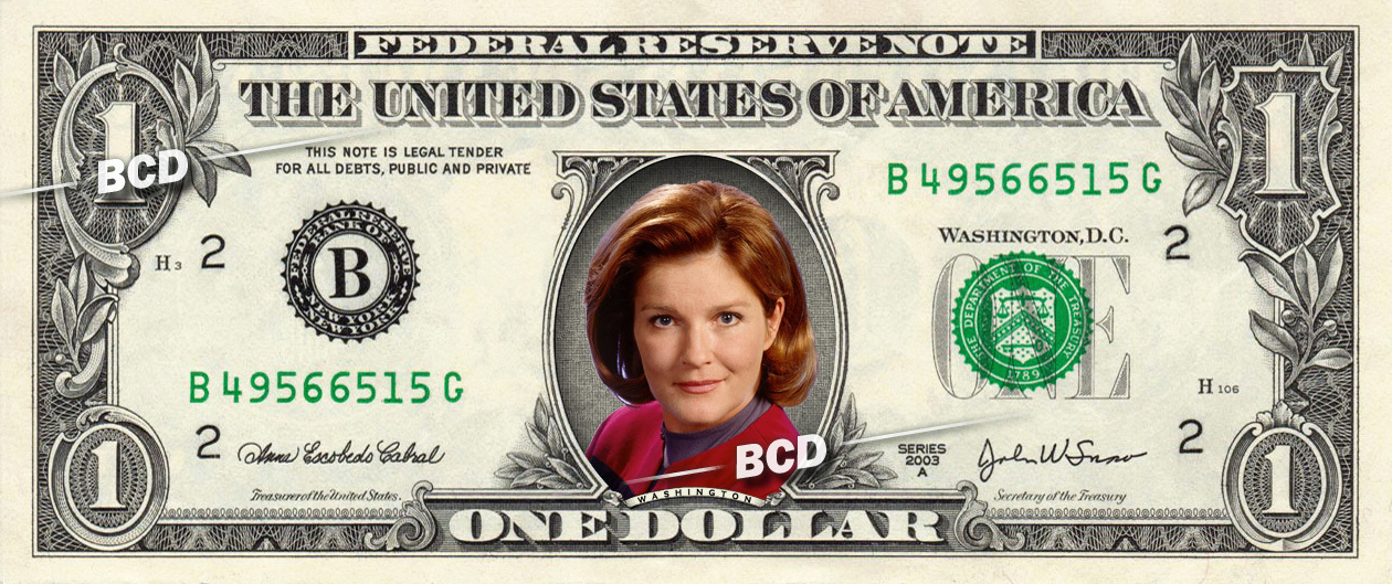 Primary image for KATHERINE JANEWAY Star Trek on REAL Dollar Bill Collectible Cash Money Gift