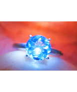 Haunted ring 7x MONEY MAGNIFIER MAGNET MAGICK 925 BLUE TOPAZ WITCH Cassia4  - $107.77