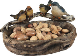 NIB Large Wood Look Hand Painted Poly Resin Bird Bowl - £14.38 GBP