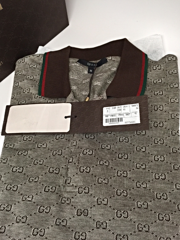 8d1f64d4b74  395 GUCCI Pique GG Interlock LOGO Jacquard Polo Shirt Made in ITALY New in  Tag