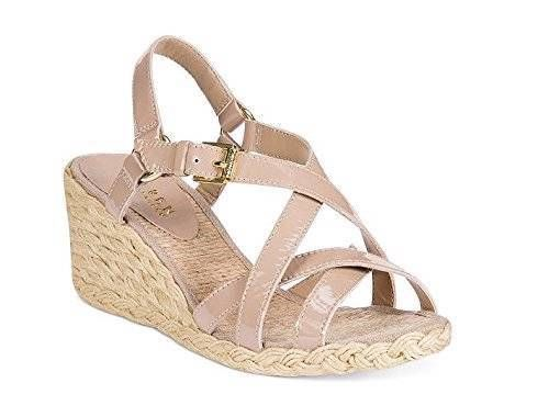 NEW WOMENS RALPH LAUREN CHRISSY SANDALS ESPEDRILLES SANDSTONE PATENT LEATHER 8 B