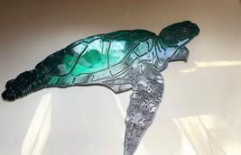 "Aquatic Sea Turtle Metal Decor teal tainted 17"" x 10"" - $44.99"