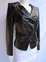 Armani Collezioni Women Jacket Plack Purple Lambskin Leather Soft Fashio... - $685.99