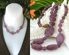 Vintage Purple Amethyst Czech Carved Art Glass Bead Necklace - $49.95