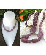 Vintage purple amethyst czech carved art glass bead necklace thumbtall