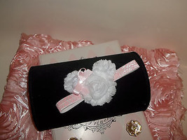 Newborn To Toddler  Baby Girl White Shabby Minnie Headband With Pink Bow - $7.00