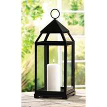 Large Black Contemporary Candle Lantern - $40.00