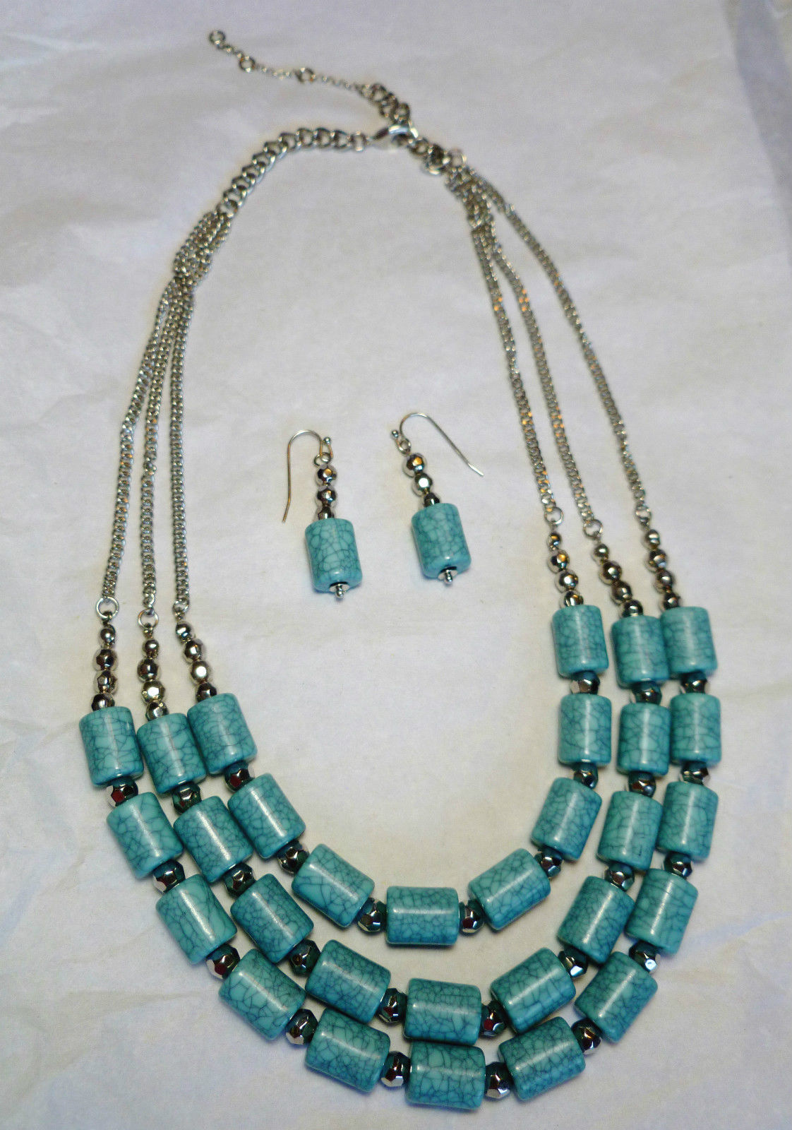 Turquoise 3 Tier Necklace & Earring Set