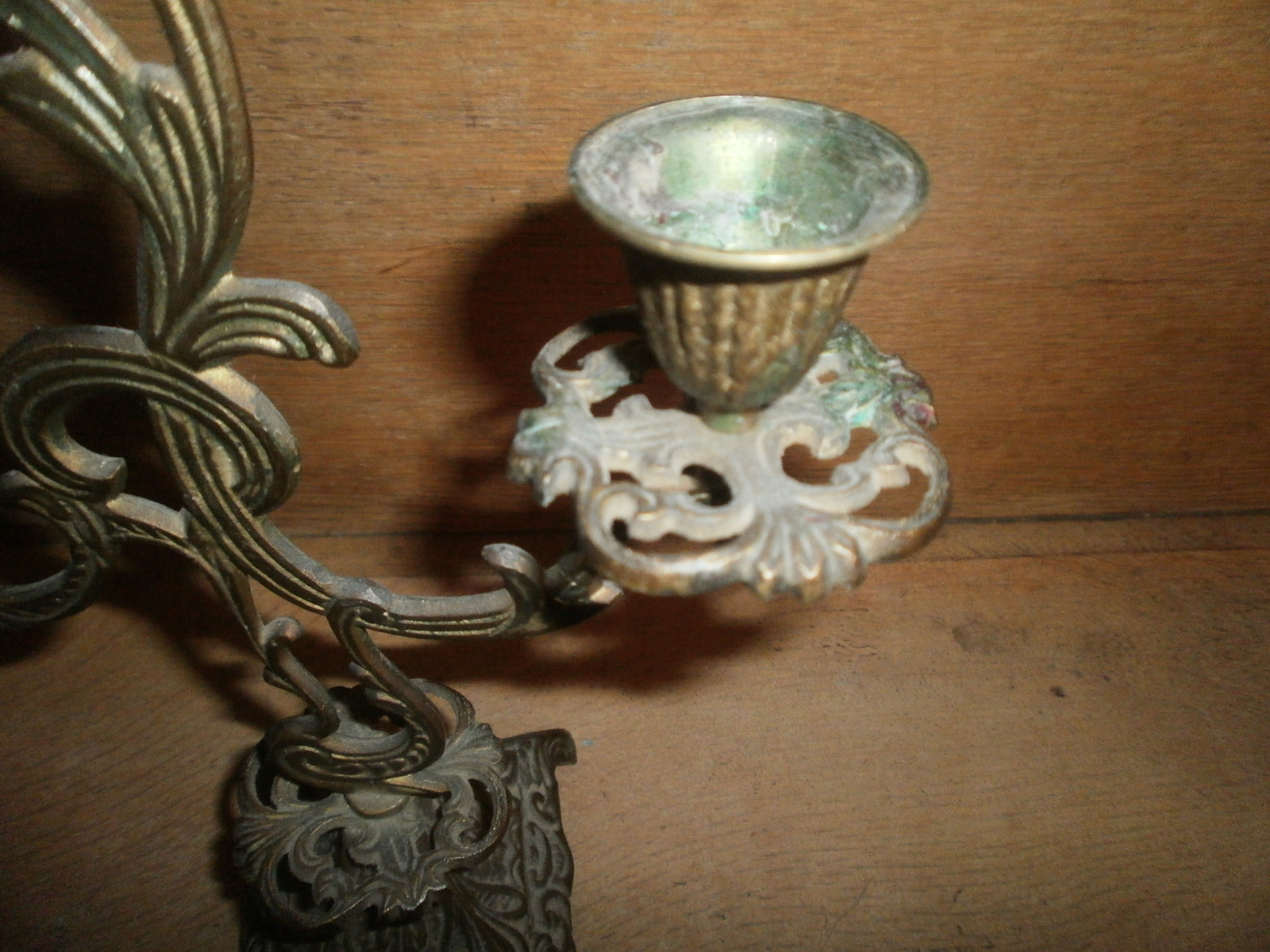 Antique Brass Candle Holder , Gothic Look