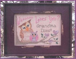 Who Loves You Girl owl cross stitch chart Designs by Lisa - $6.30
