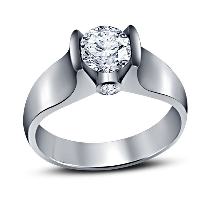 Primary image for 14k White Gold Plated 925 Silver Round Cut Sim Diamond Solitaire Engagement Ring