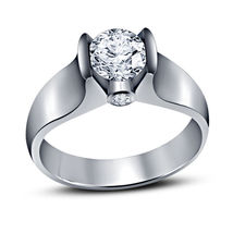 14k White Gold Plated 925 Silver Round Cut Sim Diamond Solitaire Engagement Ring - $68.05