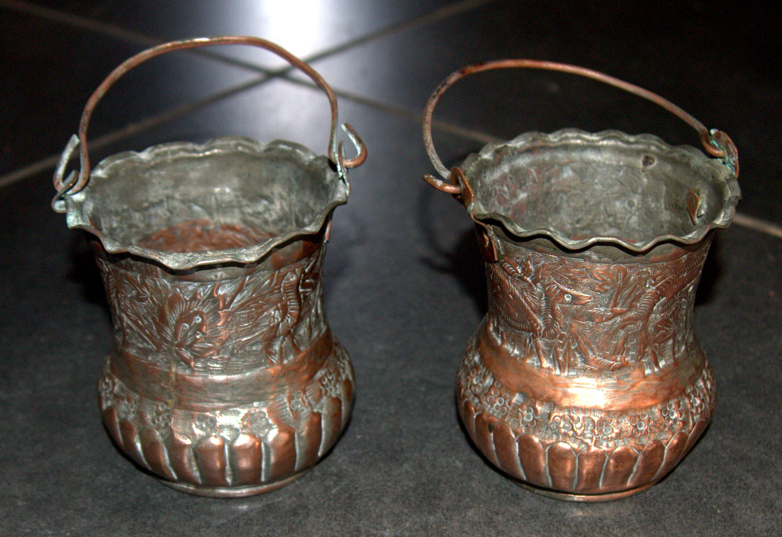 2 Antique Persian Copper Cups Jugs Hand Etched Traditional Persepolis Embossed