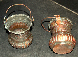 2 Antique Persian Copper Cups Jugs Hand Etched Traditional Persepolis Embossed image 2