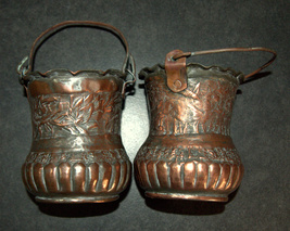 2 Antique Persian Copper Cups Jugs Hand Etched Traditional Persepolis Embossed image 5