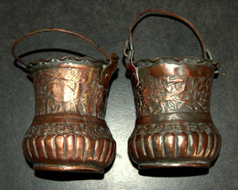 2 Antique Persian Copper Cups Jugs Hand Etched Traditional Persepolis Embossed image 6