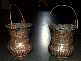 2 Antique Persian Copper Cups Jugs Hand Etched Traditional Persepolis Embossed image 7