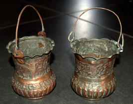 2 Antique Persian Copper Cups Jugs Hand Etched Traditional Persepolis Embossed image 8