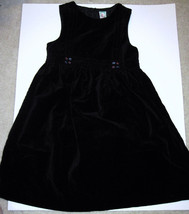 Gymboree Dress Black Velvet Velour Sleeveless Jumper Floral Embroidery L... - $17.82