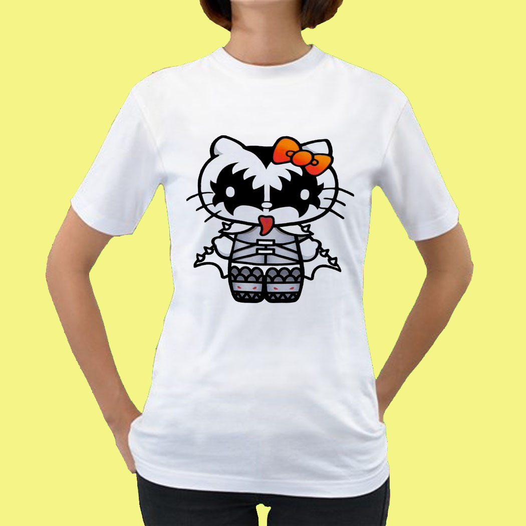kiss hello kitty gn05 womens tee t shirt s m l xl xxl size t shirts tank tops. Black Bedroom Furniture Sets. Home Design Ideas