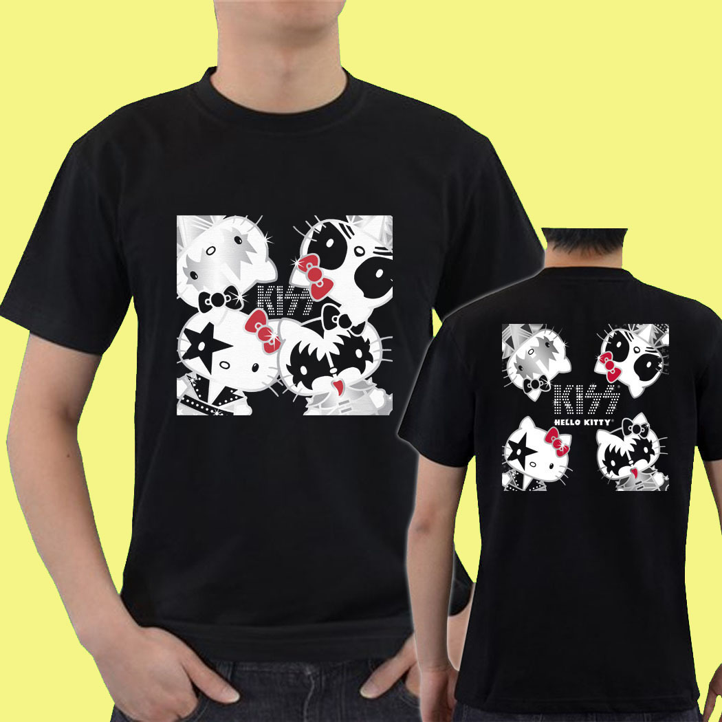 kiss hello kitty gn03 mens two side tee t shirt s m l xl