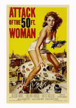 Attack Of The 50 FT Woman Vintage Poster 12x19 inches (32x49cm) - $5.00