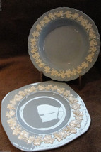 VINTAGE 1962 WEDGWOOD QUEENSWARE SOUP BOWL & SQUARED SERVING DISH IVY BO... - $75.00