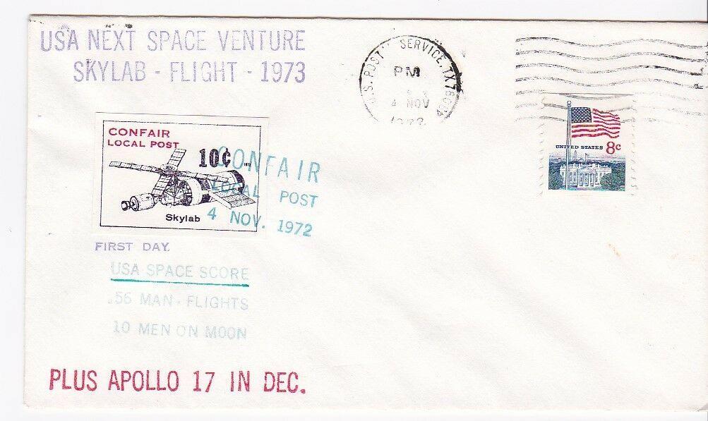 USA NEXT SPACE ADVENTURE SKYLAB-APOLLO 17 USPS, TX & CONFAIR LOCAL POST 1972