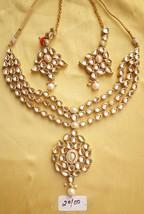 Kundan Necklace Set Gold Cz Stone Pendant Haar Indian Fashion Designer Jewelry - $62.22