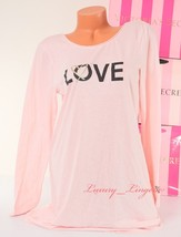 S Small Victoria's Secret Love Front Print Long Sleeve Sleep Pajama Slee... - $19.99