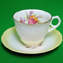 Vintage Royal Stafford (England) Cup And Saucer Set With Bright Flowers - $9.95
