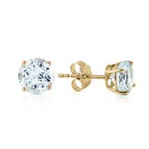 0.95 Ct 14k Solid Yellow Gold Wondrous Sea Aquamarine Earrings - $153.65
