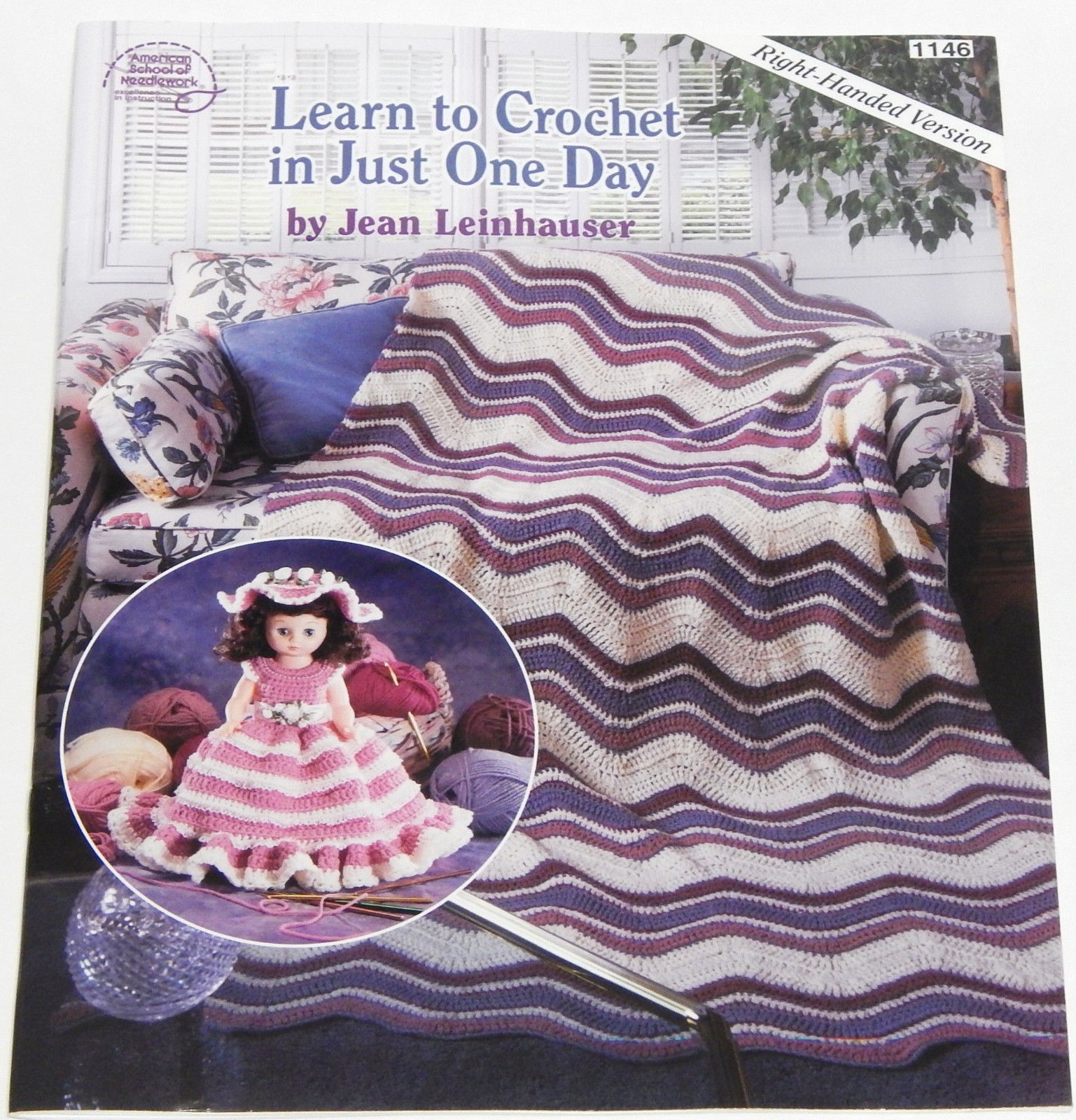 Learn To Crochet in Just One Day Right Handed Version Jean Leinhauser Booklet - $6.49