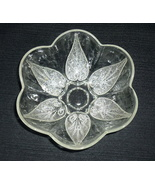 Anchor Hocking Renaissance Beaded Leaf Clear Glass Bowl Scalloped Vintage - $9.95