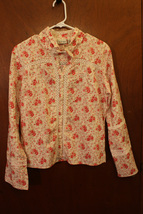 B True Beige & Red Floral Button Down Shirt with Lace Accents - Size Large - $10.99
