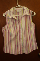 Sonoma Multi-Colored Striped Sleeveless Button Down Blouse - Size Large - $9.99