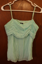 Gap Light Teal Green Ruched Silk Tank Top - Size 12 - $9.99