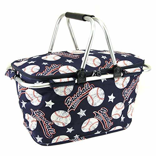 Baseball Print Metal Frame Insulated Market Tote